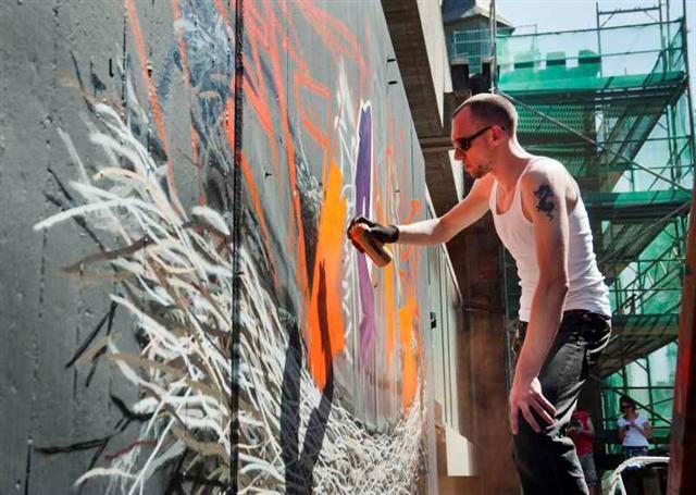 historisches museum frankfurt: Abschied mit graffiti, Foto: P. Welzel