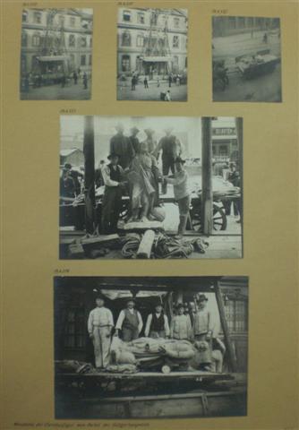 historisches museum frankfurt: Abnahme der Christusfigur vom Portal des Bürgerhospitals