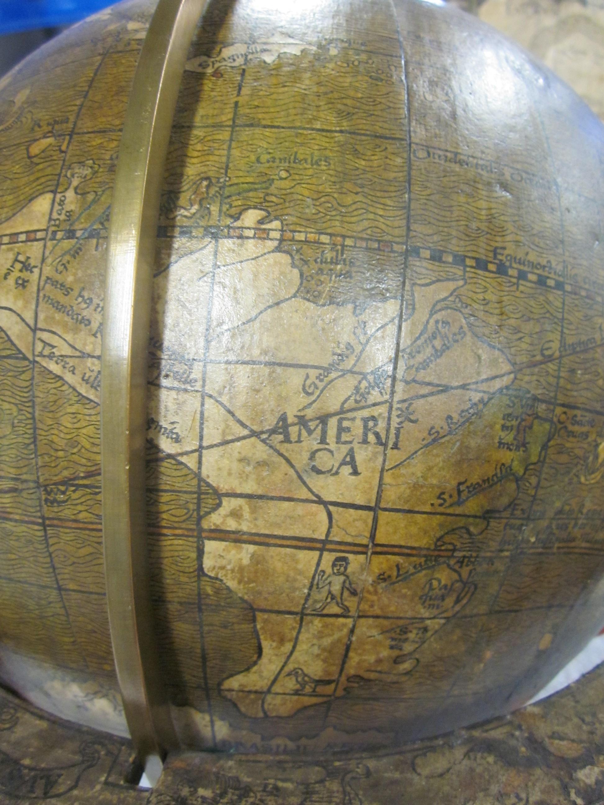 historisches museum frankfurt: Globus-Ausschnitt, Johannes Schöner, 1515: America