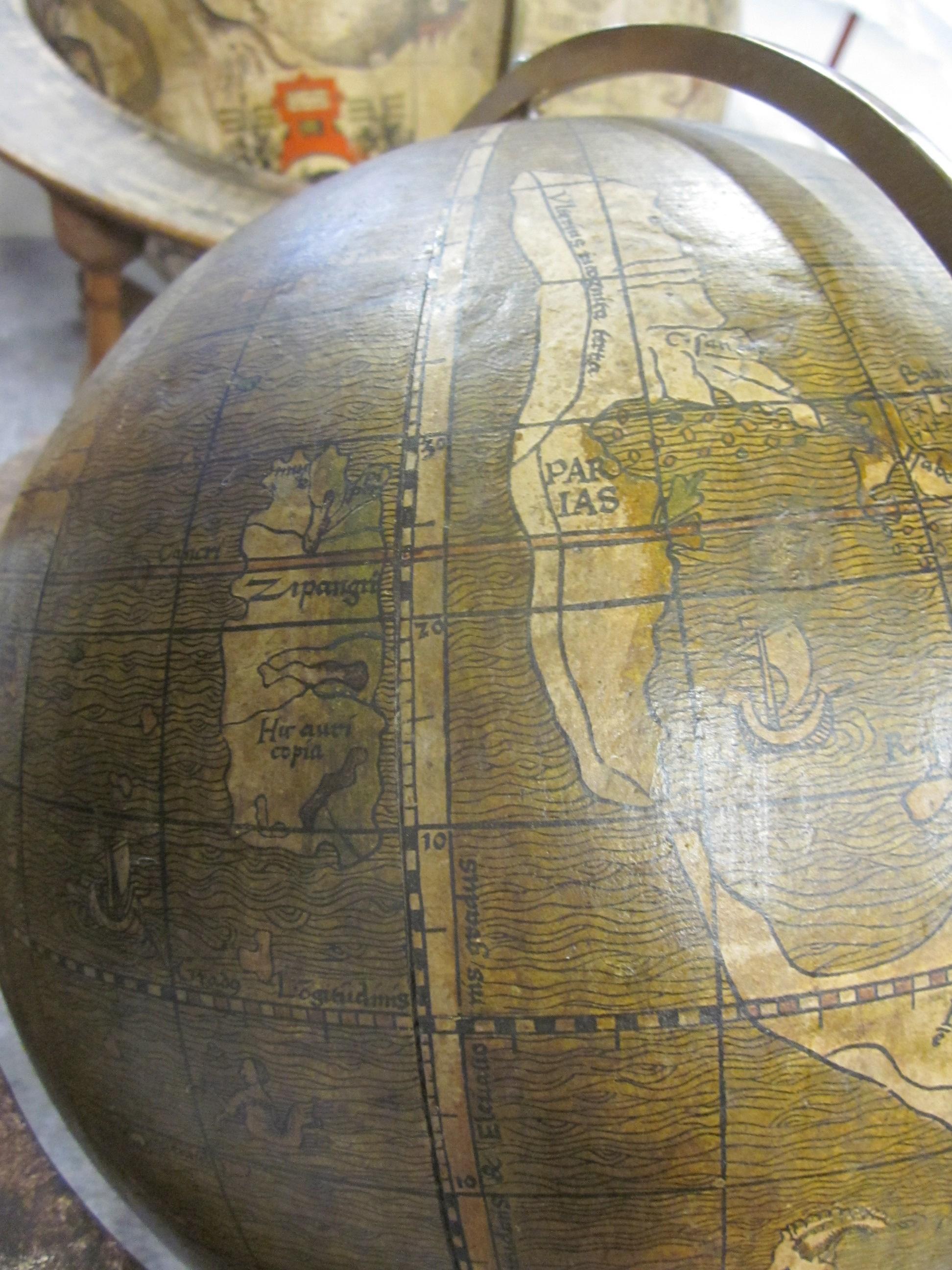 historisches museum frankfurt: Globus-Ausschnitt, Johannes Schöner, 1515 (Japan und Amerika)