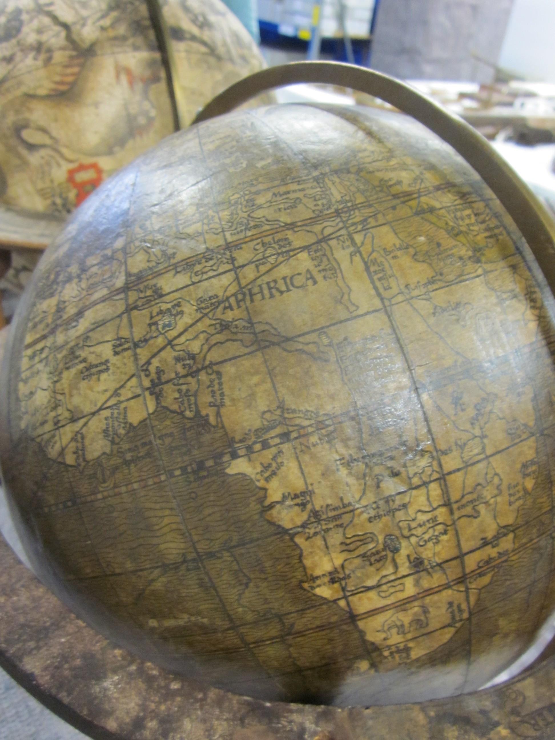 historisches museum frankfurt: Globus-Ausschnitt, Johannes Schöner, 1515 (Afrika)