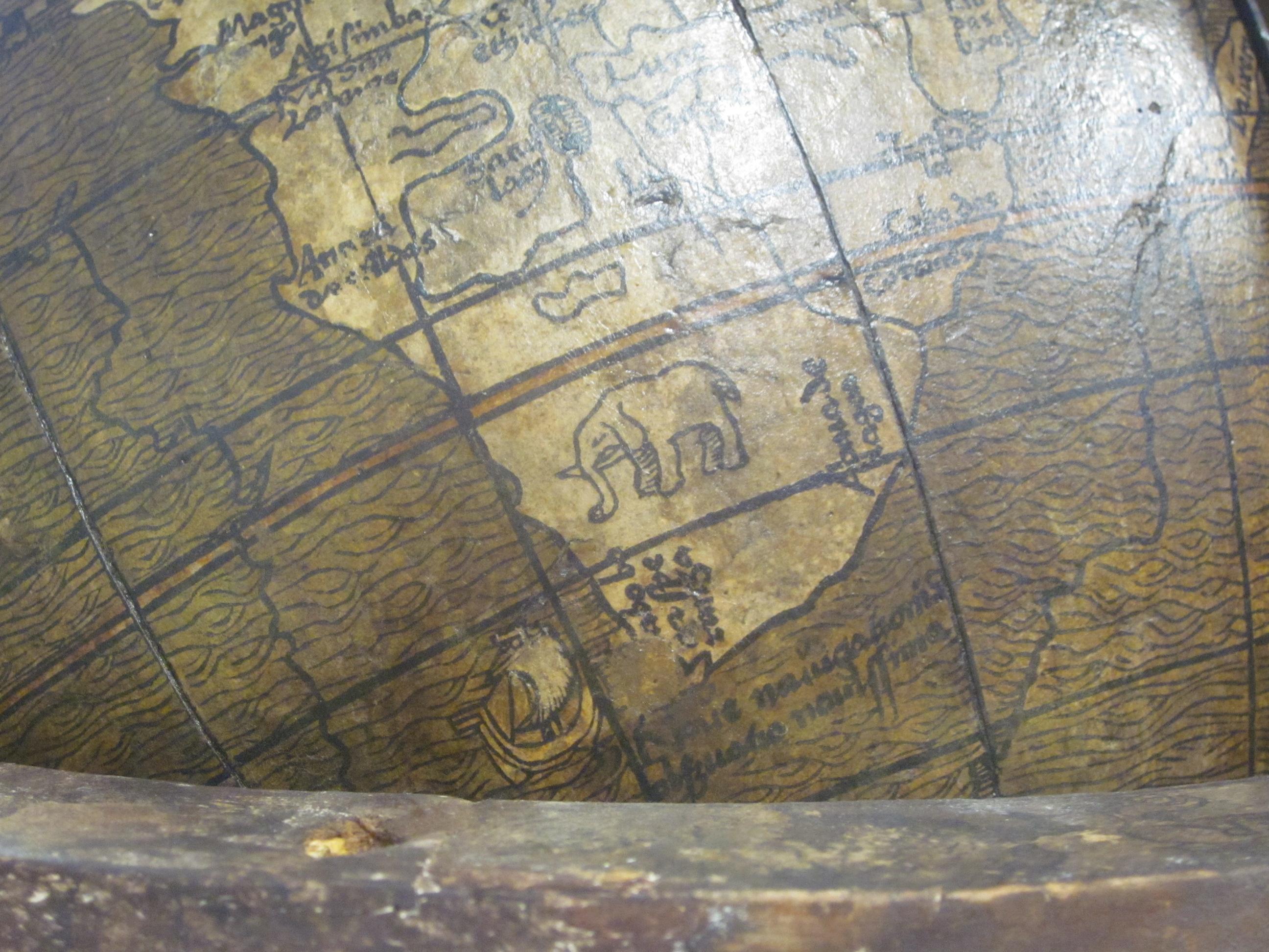 historisches museum frankfurt: Globus-Ausschnitt, Johannes Schöner, 1515 (Afrika südlich)