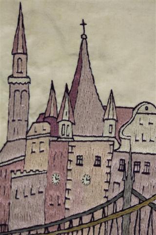 historisches museum frankfurt: rententrum, gestickt