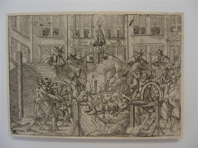 historisches museum frankfurt: Eine Druckgrafik von 1562 zeigt das Feiern zur Kaiserkrönung auf dem Römer