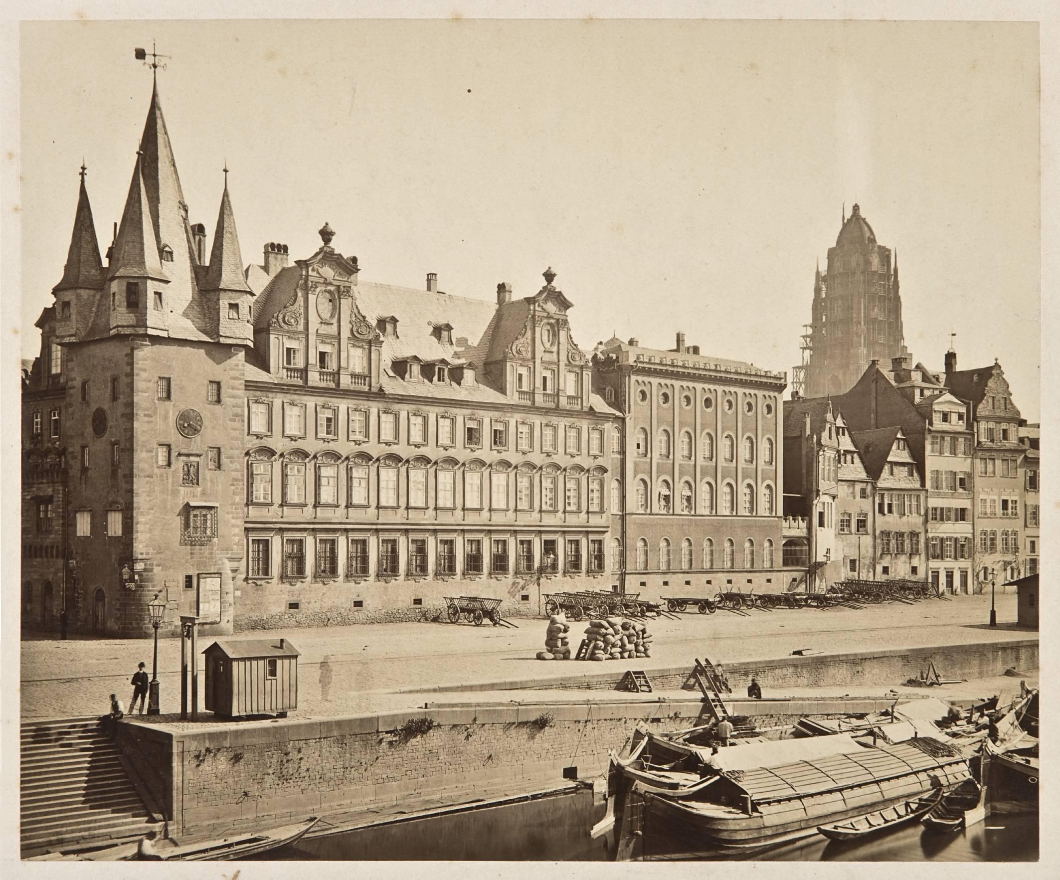 Rententurm mit Bernus- und Burnitzbau und Saalhof, Fotografie von F. Friedrich, 1869 (c) historisches museum frankfurt, Foto: H. Ziegenfusz