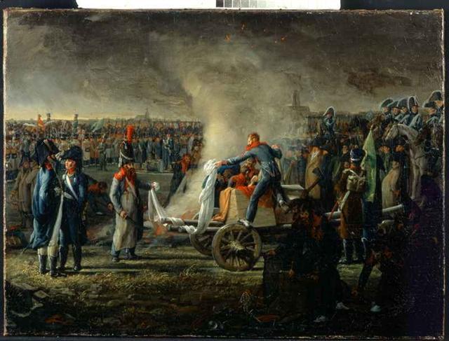 historisches museum frankfurt: Verbrennung der englischen Waren auf dem Fischerfeld, 1810, J.C. Wilk, Foto: H. Ziegenfusz