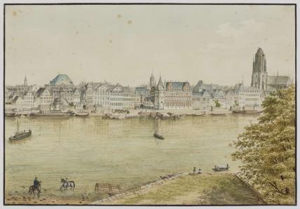 historisches museum frankfurt: Rudolf Burnitz: Frankfurt am Main, Untermainkai, 1823, (c) hmf, Foto: H. Ziegenfusz