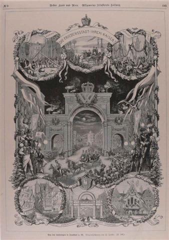 historisches museum frankfurt: Einblatt, auf dem die Ereignisse des Kaiserbesuchs von 1877 zusammenfassend abgebildet sind