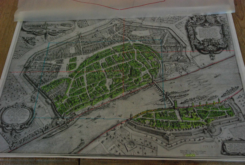 historisches museum frankfurt: Merian 3D Werkstattbesuch 5 - die grüne Markierung zeigt fertig Gebautes