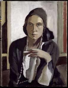 historisches museum frankfurt: Auerbach, Erna, Frauenbildnis in Schwarz, Portrait, 1932, Öl auf Leinwand