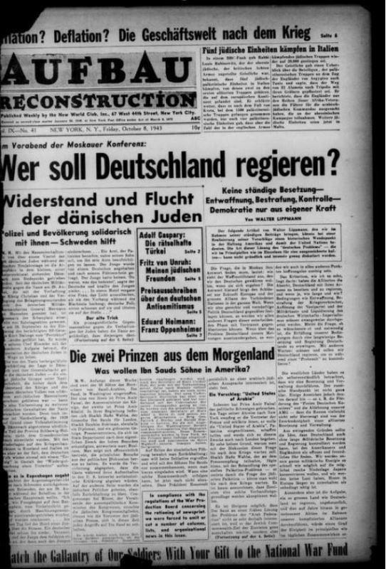 """historisches museum frankfurt: Titelblatt """"Der Aufbau"""" (8.10.1943)"""