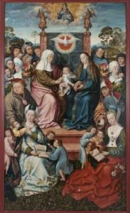 historisches museum frankfurt: Meister von Frankfurt, Annenrentabel, Mitteltafel mit Heiliger Sippe, um 1504