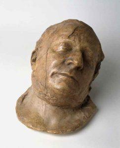 Totenmaske von Bürgermeister Fellner im Viertelprofil, Frankfurt am Main, getönter Gipsabguß