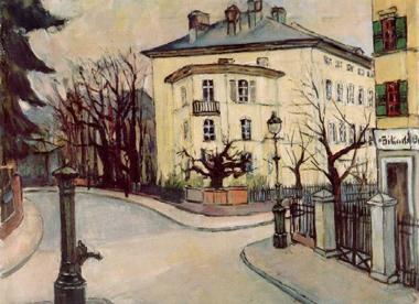 historisches museum frankfurt: Else Luthmer, Ecke Sternstraße-Unterweg, Stadtansicht, Öl auf Leinwand, 1934, B1541, hmf