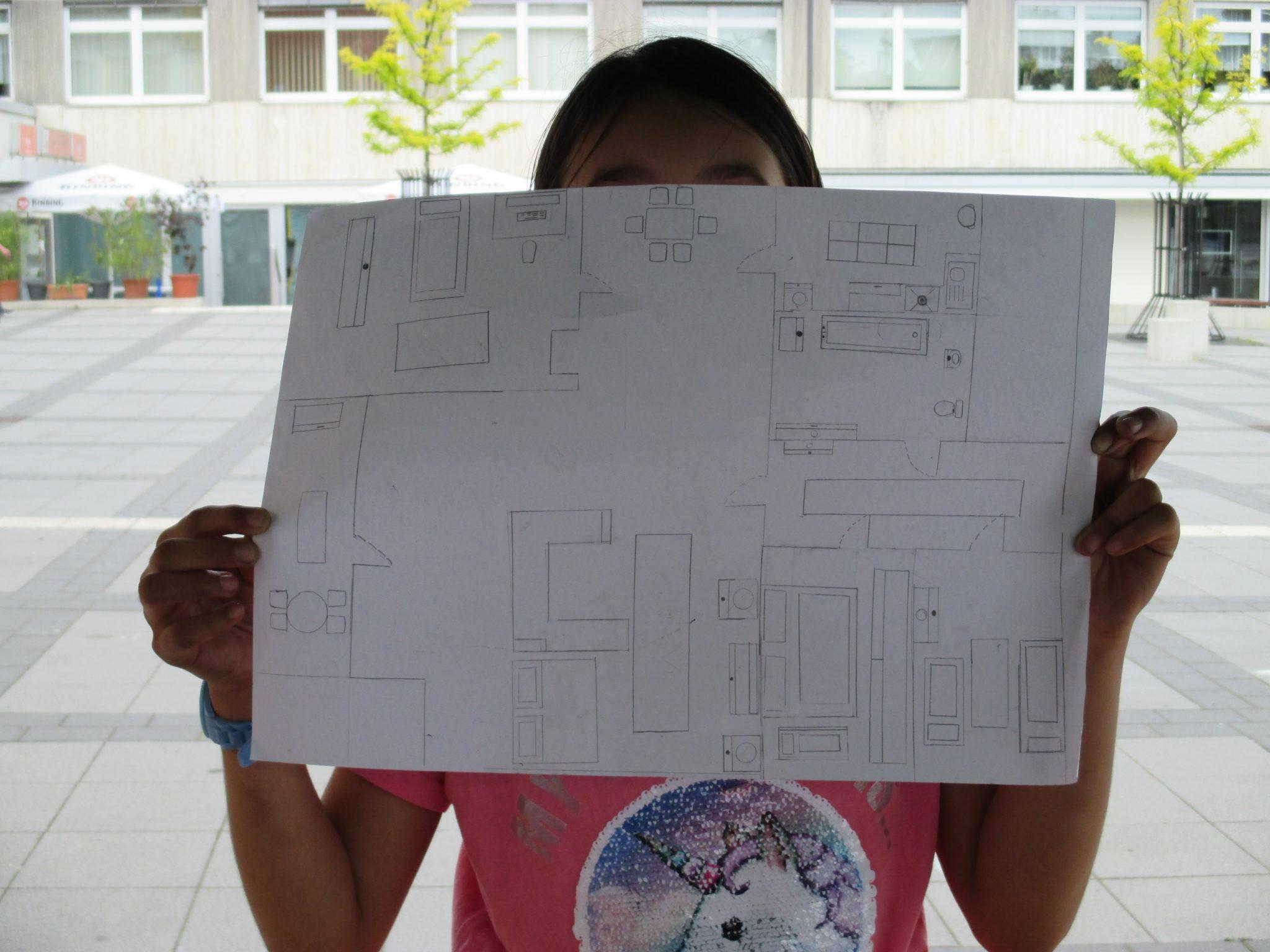 Grundrisszeichnung einer Teilnehmerin