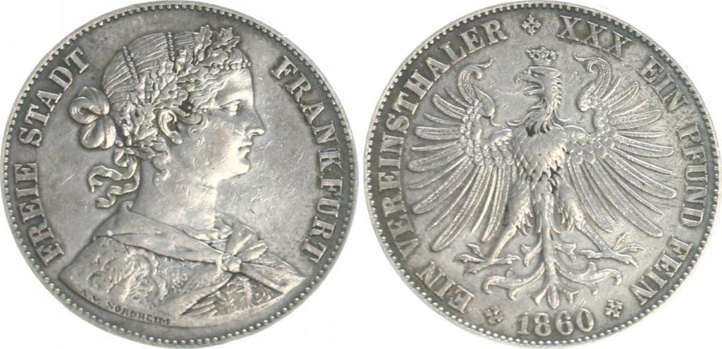 Abbildung einer Münze mit einem Frauenporträt, Vorder- und Rückseite