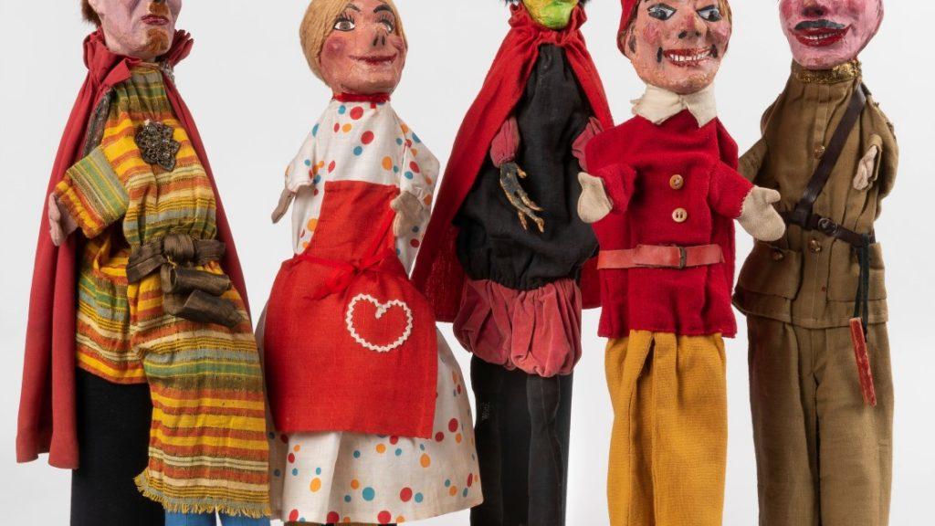 Handpuppen Polizist, Kasperl, Teufel, Mann mit Bart und Turban, Gretel