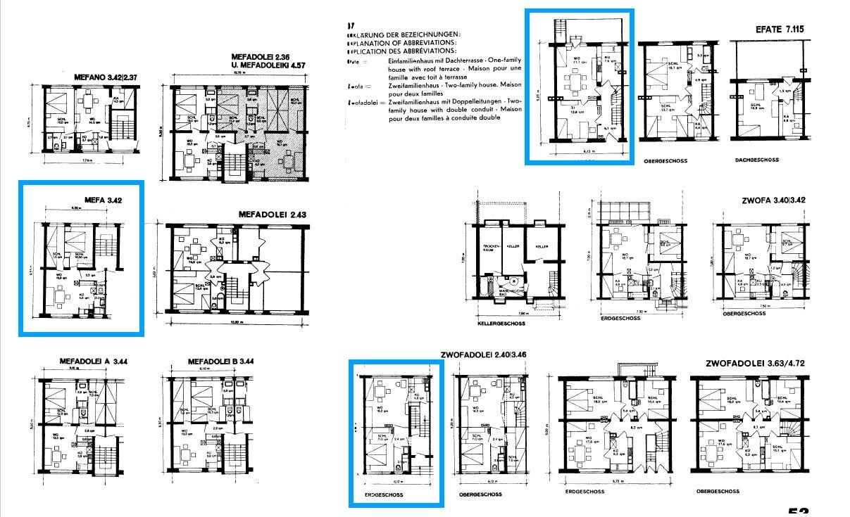 Architektruplan mit Grundrissen von mehreren Wohnungen