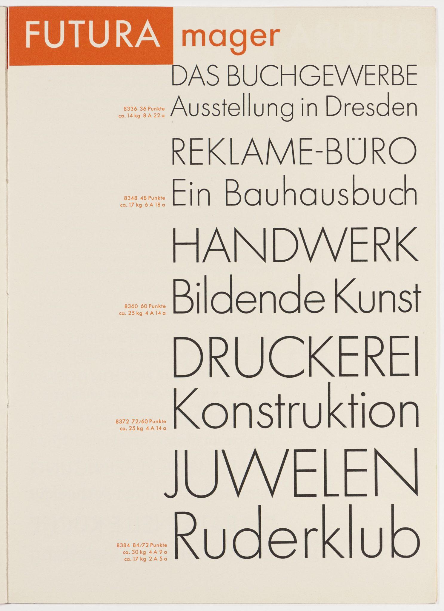 Blatt mit verschiedenen Schrifttypen