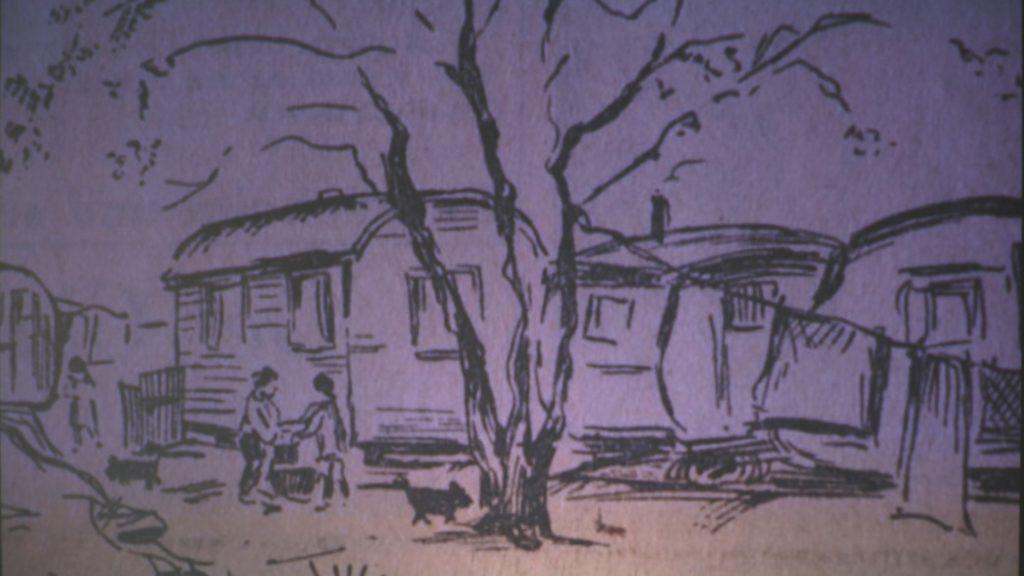 schwarz-weiß-Zeichnung der Wohnwagen
