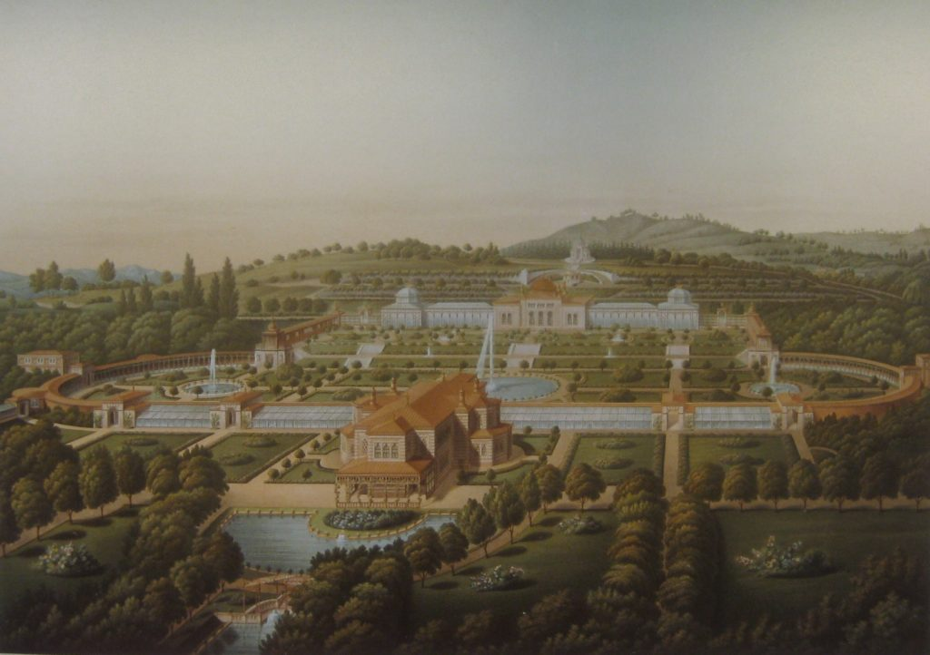 Blick auf dieParkanlage mit Terrassen, Parkanlage und Belvedere