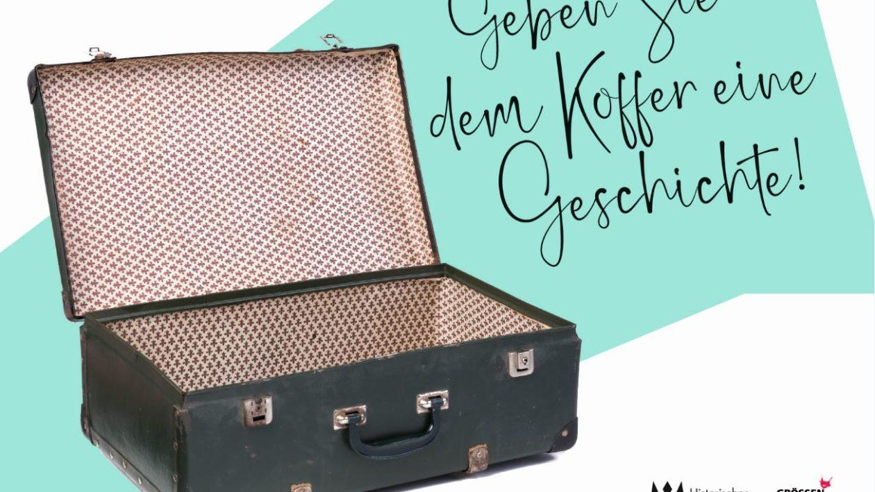 Blick auf Koffer mit text: Geben sie dem Koffer eine Geschichte