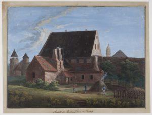 Eine farbige Zeichnung von einem großen Backsteingebäude, welches an eine Mauer grenzt. Davor ein Nebengebäude mit vielen Schornsteinen