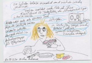 Cartoon: Frau sitzt am Tisch und isst