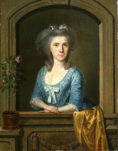 Gemälde von einer Dame in einem blauen Kleid, die an einem Fensterrahmen lehnt