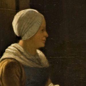 Gemaltes Porträt einer Frau von der Seite, das haar ist mit einem Kopftuch verhüllt