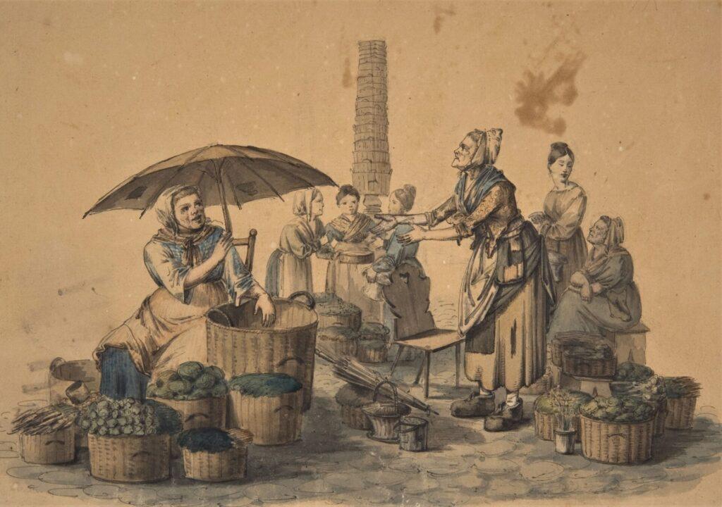 Zeichnung von einer historischen Marktszene: mehrere Frauen mit Gemüsekörben sitzen auf dem Boden, andere Frauen kaufen ein
