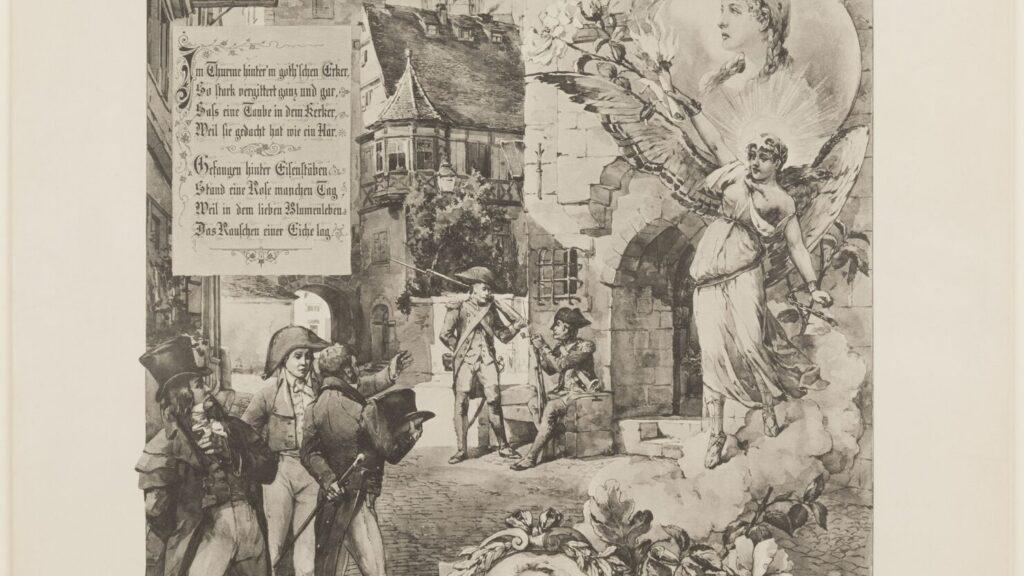 schwarzweiß-Druck mit der Darstellung eines Gefängnisses, hinter den Gittern sitzt eine Frau