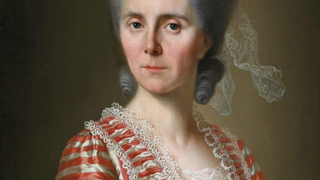 Gemälde mit einer Frau mit aufgetürmten grauen Haaren