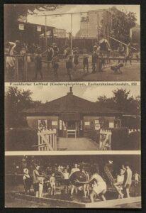 Postkarte mit drei schwarz-weiß Fotografien spielender Kindern im Luftbad Eschersheim