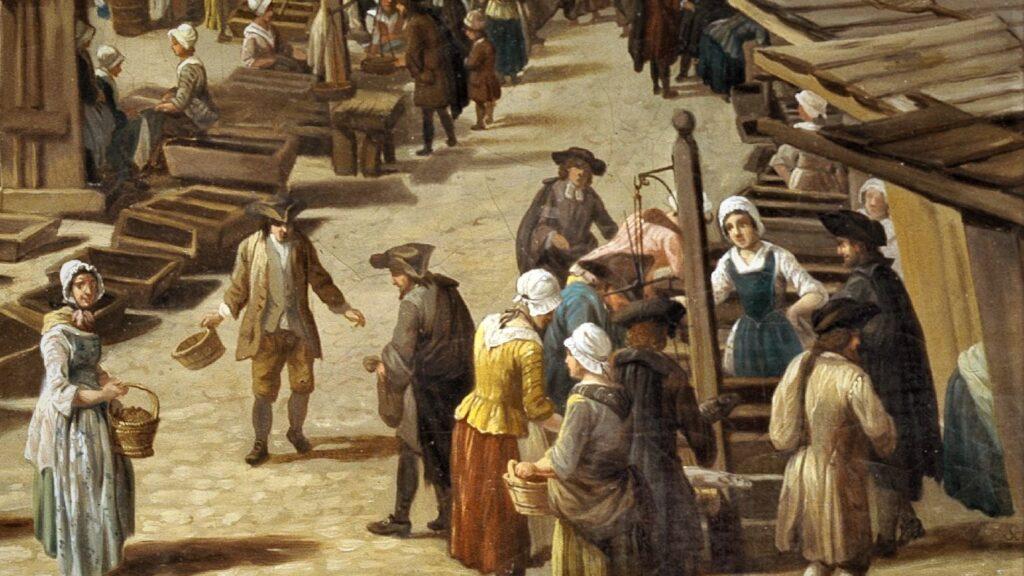 Marktszene mit Frauen und Männer in altertümlichen Trachten