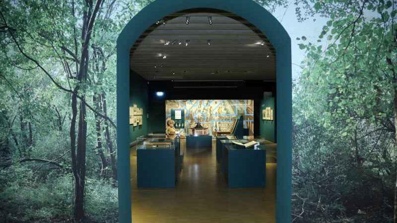 Blick in den Ausstellungsraum durch ein Tor, auf das Blätter projiziert sind