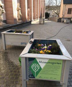 Blick auf die Hochbeete auf dem Museumsplatz, vorne ein Beet mit Schild: Der Museumsgarten