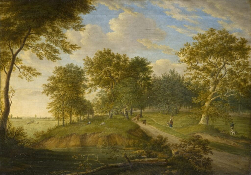 Das Gemälde zeigt einen Weg, an dem einige Eichen stehen. Ein hirte treibt einige Kühe, eine Frau trägt einen Korb. Auf dem rechten Bildrand ist ein Jäger zu sehen.