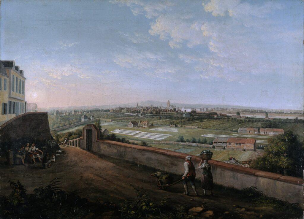 Ein Gemälde: Zwei Menschen stehen auf einer Anhöhe und schauen auf felder und Bleichwiesen, im Hintergrund ist Frankfurt zu erkennen