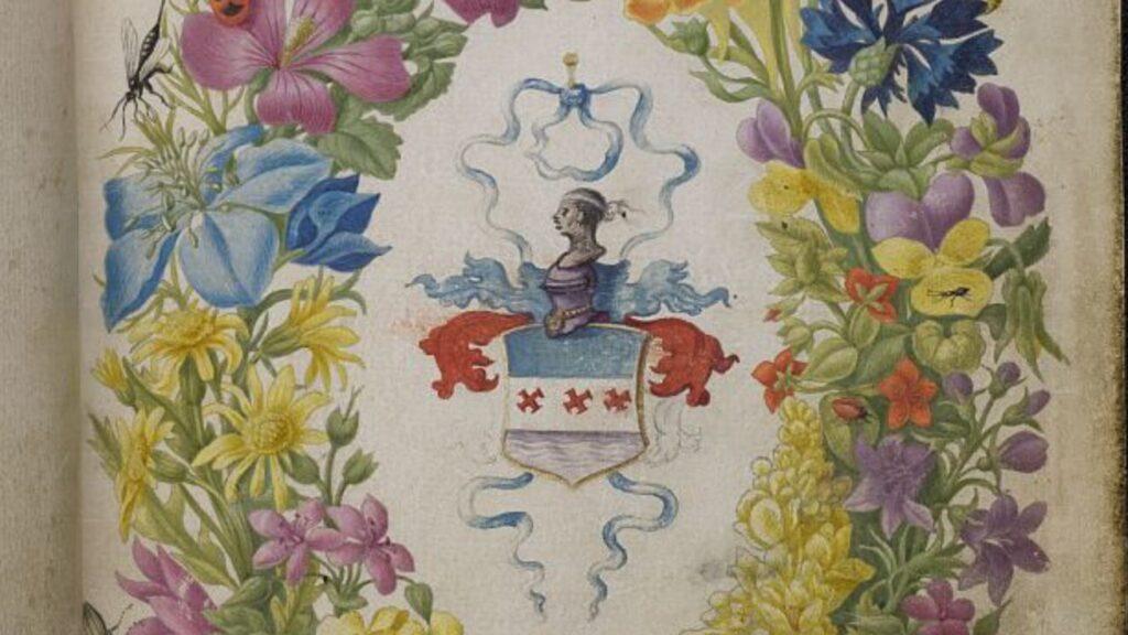 ein Blumenkranz auf Papier