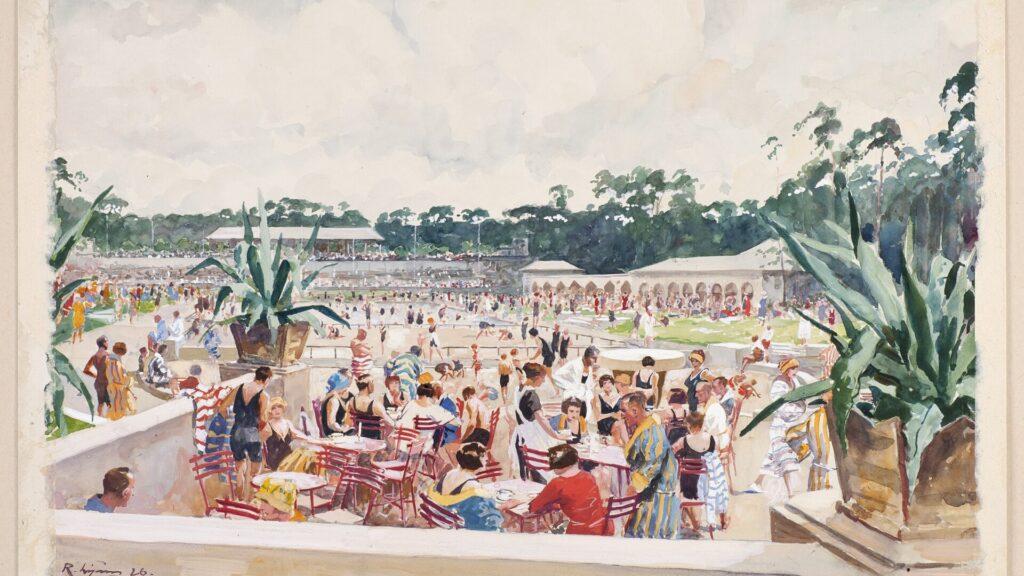 Buntes Aquarell mit Blick auf das volle Stadionbad von einer Terrasse aus