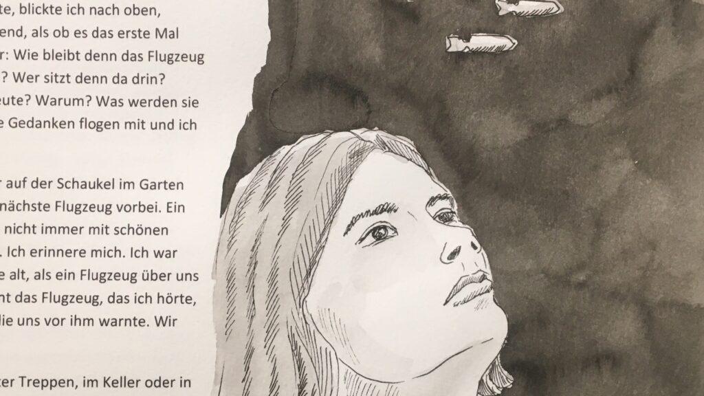 gestaltetes Blatt mit Text und Porträt einer Frau