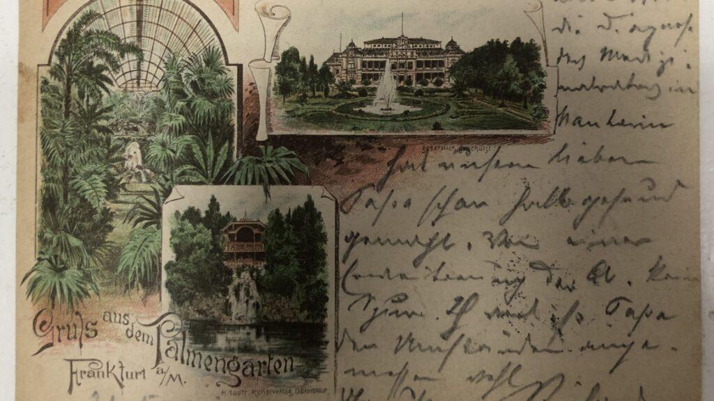 eine alte Postkarte mit Schrift