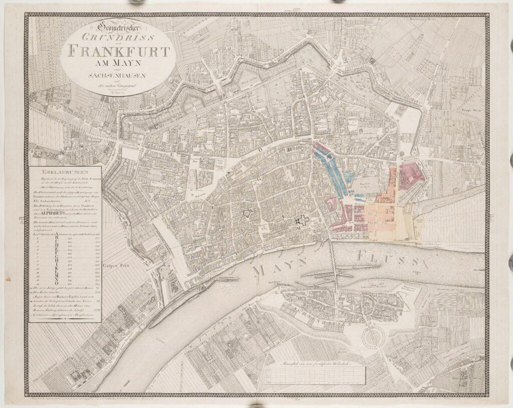 Grundriss von Frankfurt, darin eingezeichnet die Promenaden und Gärten