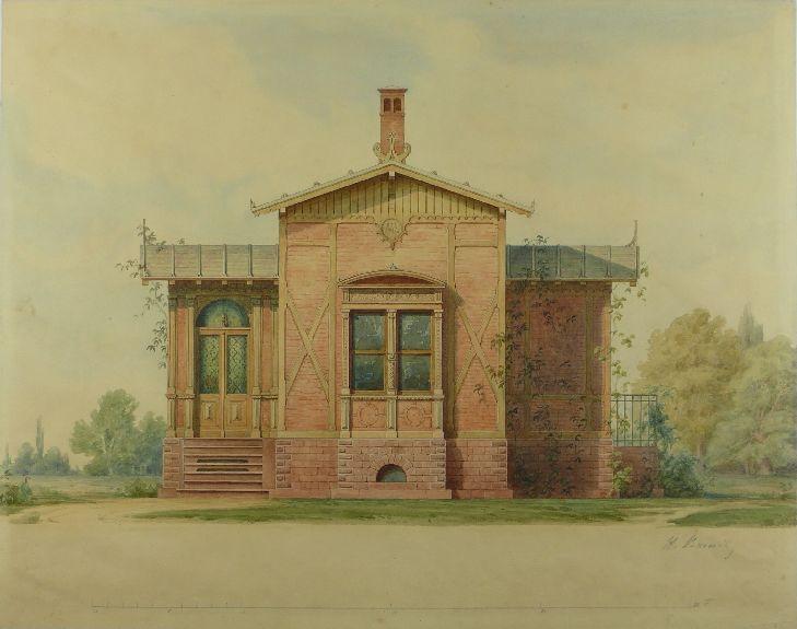 Zeichnung von einem kleinen Haus in einem Park