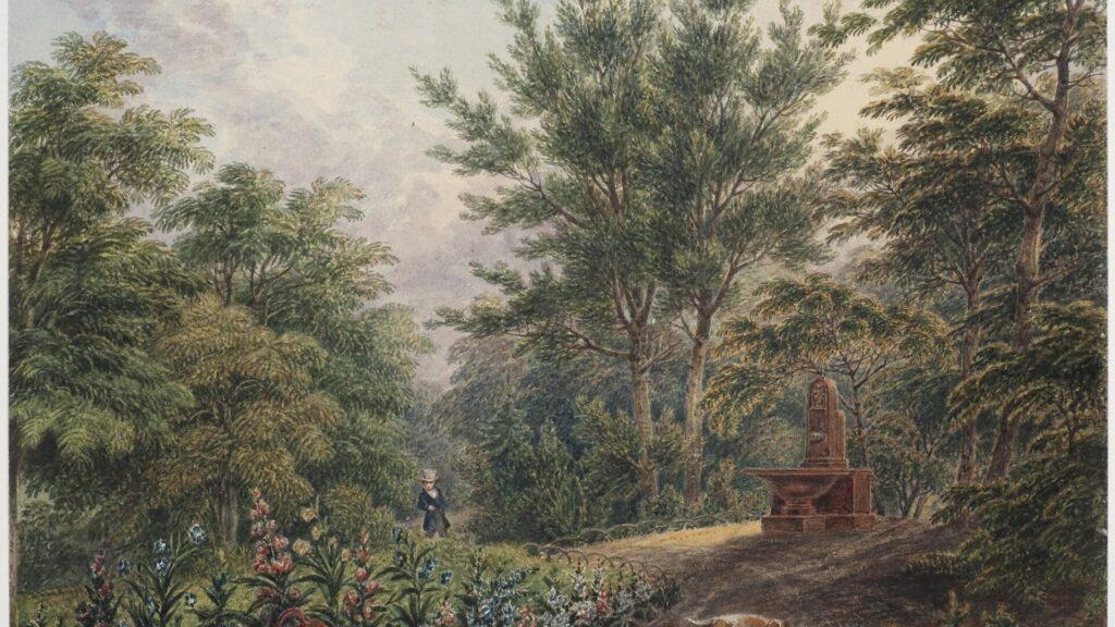 Bild mit einem Mann mit Zylinder, der in einem Park steht. Vor ihm ist ein Blumenbeet, ein Hund springt herum