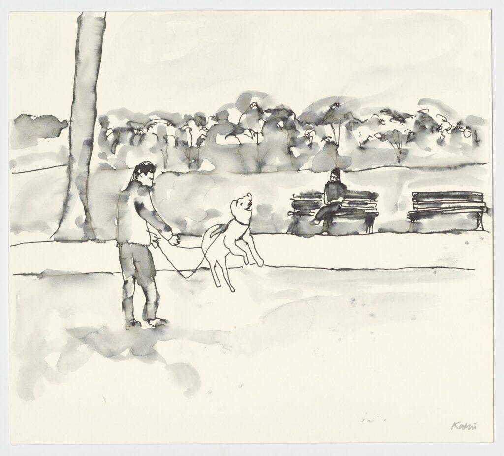 Skizze, auf der ein mann mit einem Hund zu sehen ist. Dahinter Parkbänke, auf einer sitzt eine Person
